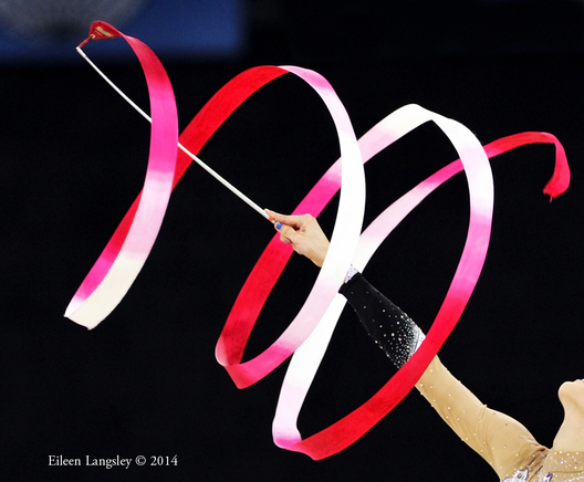 A generic image of a ribbon during the Rhythmic Gymnastics competitions at the 2014 Glasgow Commonwealth Games (gold Canada