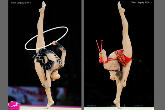 British gymnast Frankie Jones competing with Hoop and Clubs at the World Rhythmic Gymnastics Championships in Montpellier.