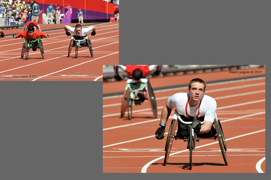 Mickey Bushell (Great Briatin) enjoys an easy ride in the heats of the 200 metres T53 race during the Athletic competition at the London 2012 Paralympic Games.