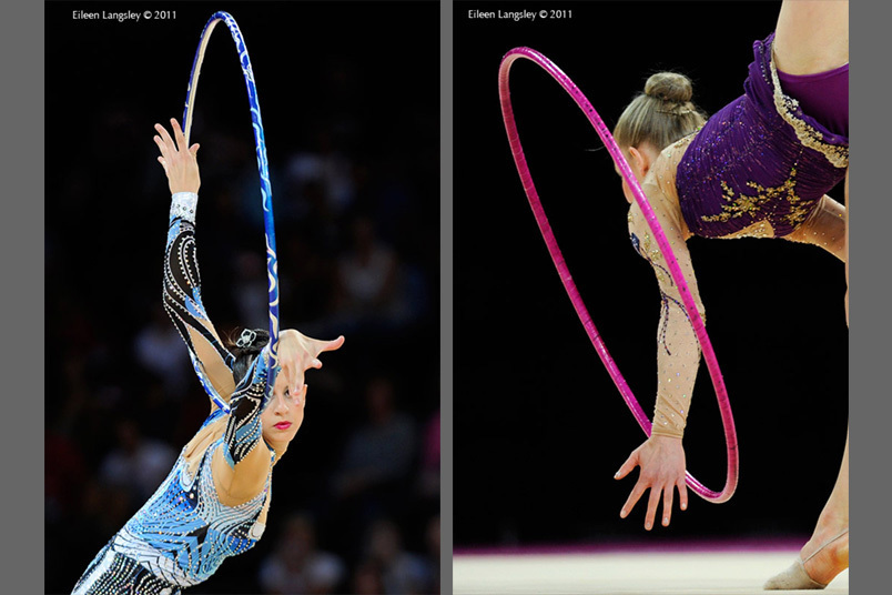 Generic images of the eyes and fingers of gymnasts competing with Hoop at the World Rhythmic Gymnastics Championships in Montpellier.