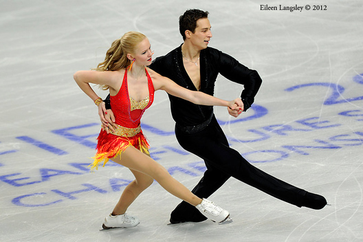 Gabriela Kubova and Dmitri Kiselev (Czech Republic) competing the Dance event at the 2012 European Figure Skating Championships at the Motorpoint Arena in Sheffield UK January 23rd to 29th.