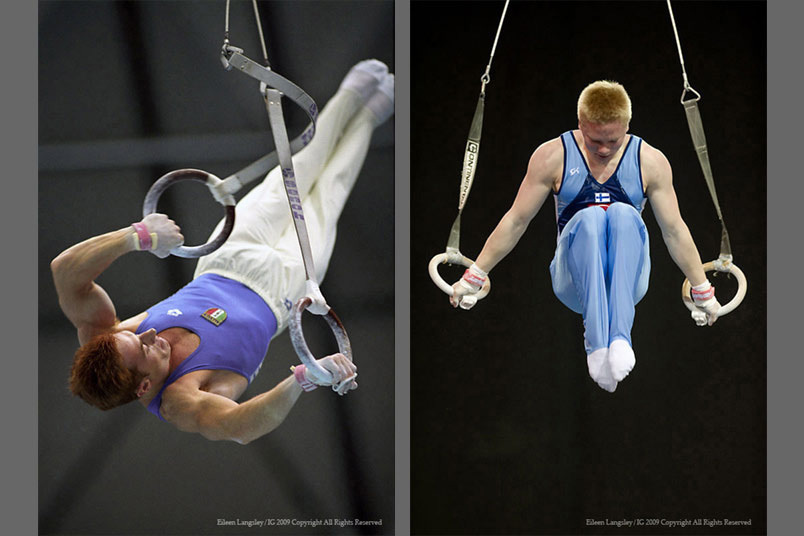A double page image of two male gymnasts Yuri Chechi (Italy) and Tomi Tuuha (Finland) competing on the Rings at the 1995 Sabae World Gymnastics Championships and the 2009 Glasgow Grand Prix respectively.