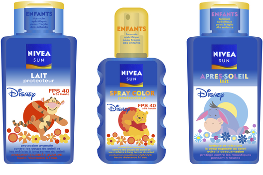 Packaging for a range of children's sunscreen products.