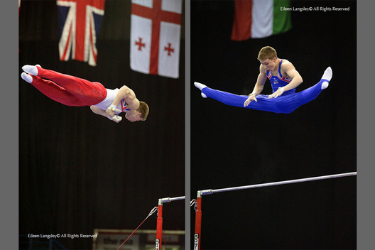 A double image of Sam Oldham (Great Britain) winner of the gold medal in the Junior Men's competition performing a twisting dismount from the High Bar (left) and a Tkachev salto (right) at the 2010 European Gymnastics Championships in Birmingham.