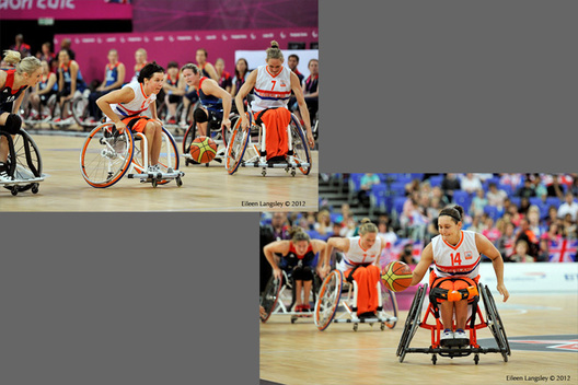Carolina de Roou-Versloot (Netherlands) goes on the attack and Roos Oosterbaan holds off Maddie Thompson during their wheelchair Basketball match against Great Britain at the London 2012 Paralympic Games.