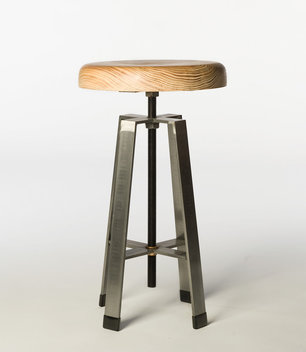 "Short stool is 18"" tall for use at a desk or table. Top shown is reclaimed Long Leaf Pine from a building built in 1890. Top adjusts up and down by spinning."
