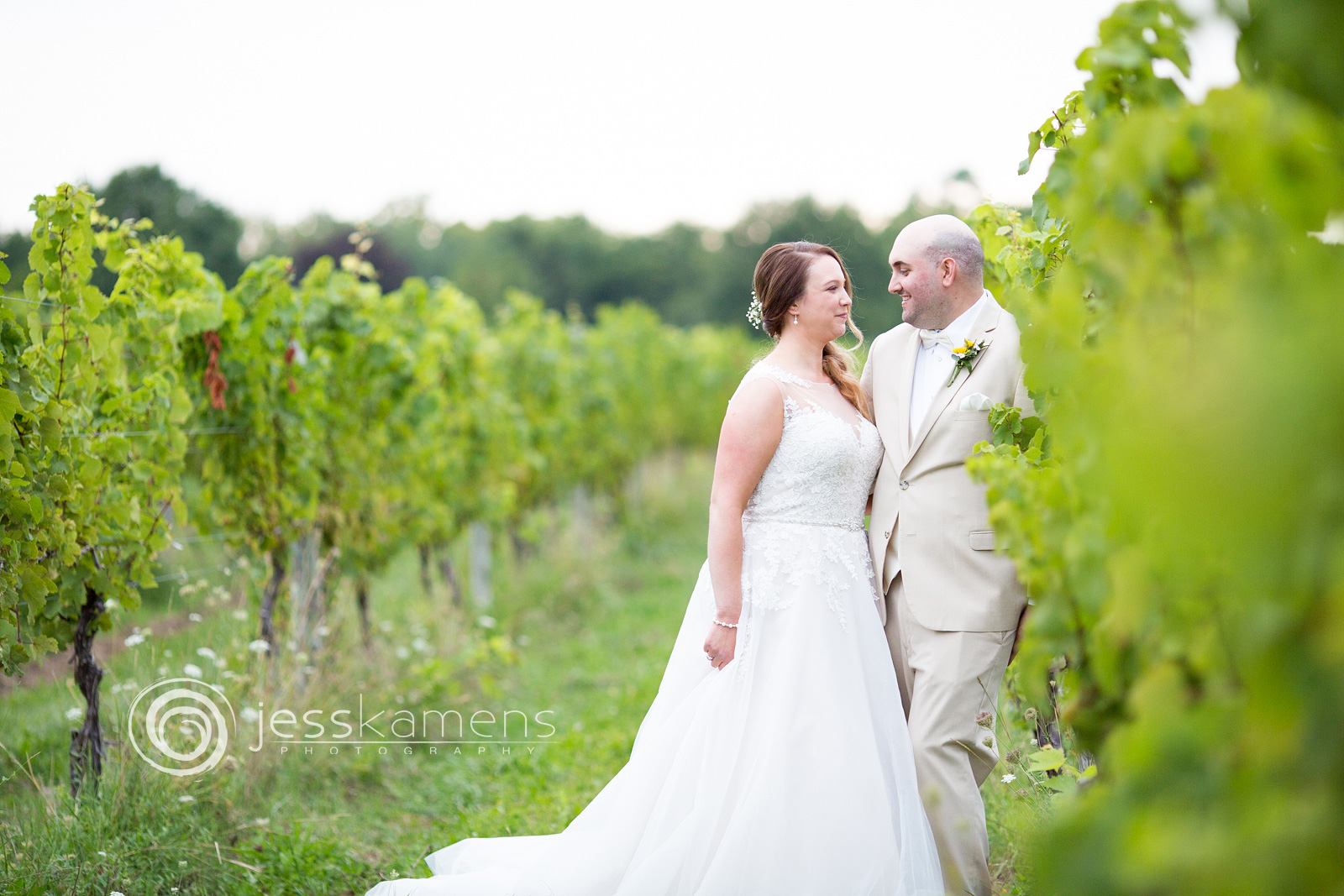 bride and groom in the vineyards of geneva, ny