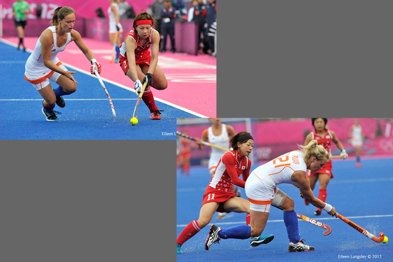 Nagisa Hayashi (Japan) goes in the attack and Sophie Polkamp (Netherlands) clears the ball in their match at the 2012 London Olympic Games.