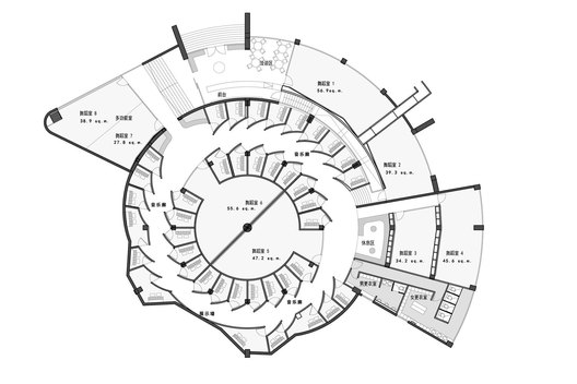 Plan of ART PLUS III, a Children Performing Art Education Center designed by Singapore-based AND lab in Shenzhen Baihua
