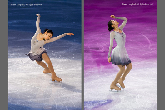 A double image of Gold medallist Yu Na Kim (Korea) performing an artistic routine at the exhibition for the Figure Skating competition at the 2010 Winter Olympic Games in Vancouver.