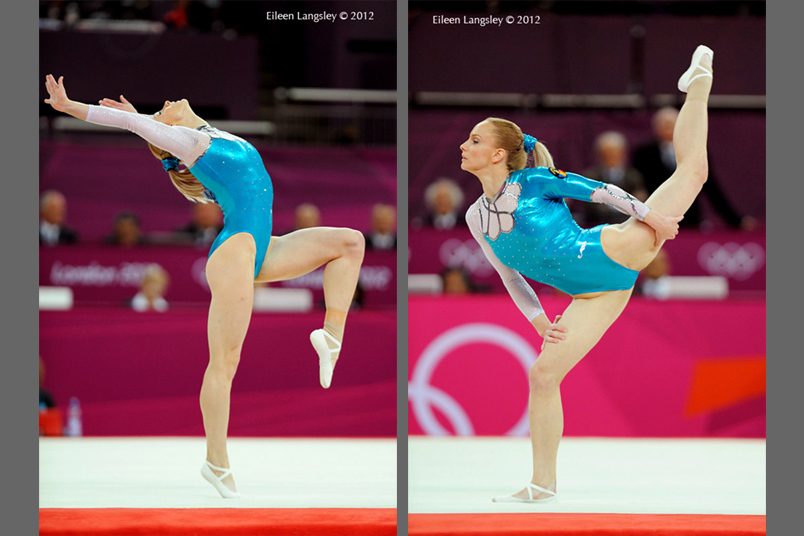 Sandra Izbasa (Romania) competing on floor exercise at the Gymnastics competition of the London 2012 Olympic Games.
