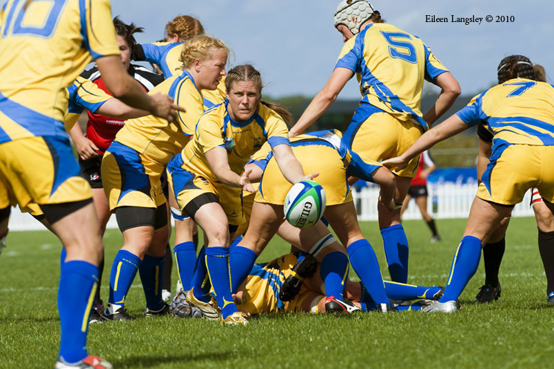 Action from the Canada versus Sweden match at the 2010 Women's World Cup Rugby at Surrey Sports Park August 24th.