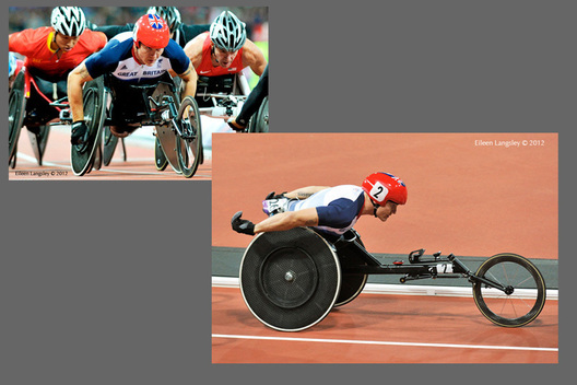 David Weir (Great Britain) at the start of the race and in full flow during the 5000 metres T54 during the Athletic competition at the London 2012 Paralympic Games.