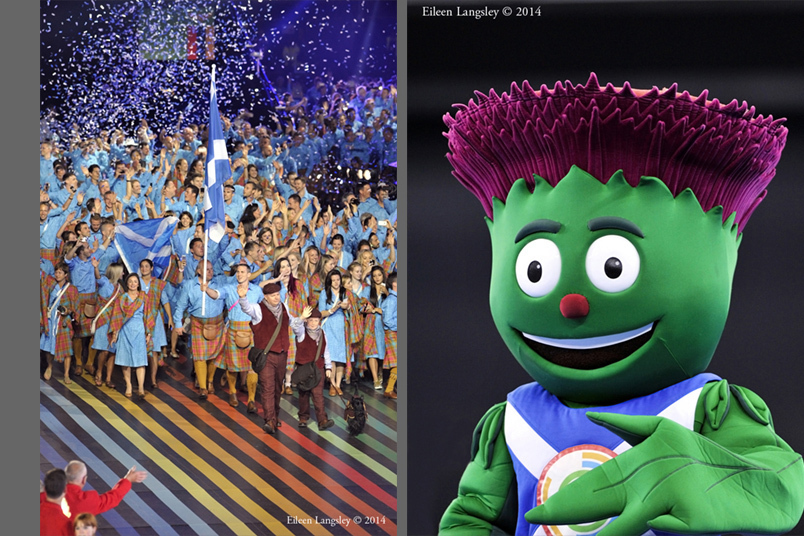 The Scottish team enter the arena to a great welcome at the Opening Ceremony of the 2014 Glasgow Commonwealth Games and Clyde, the official mascot.