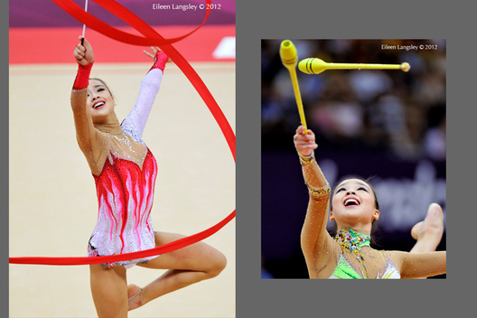 Yeon Jae Son (Korea) competing with ribbon and clubs during the Rhythmic Gymnastics competition at the 2012 London Olympic Games.