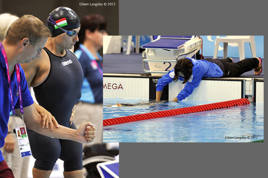 Blind and disabled swimmers receive great coach support in the swimming competition at the 2012 London Paralympic Games.