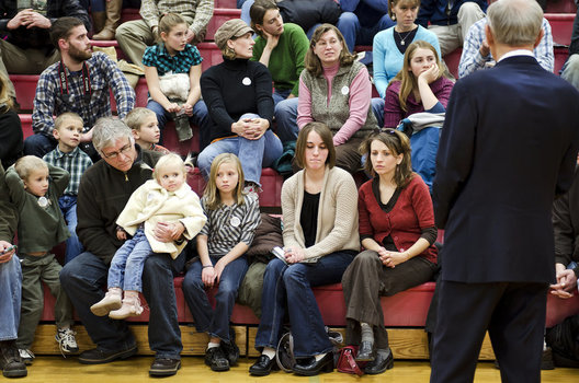 Ron Paul answers questions at a town hall meeting in the Mason City High School Gym.