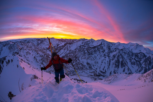 Sam Cohen hiking at sunrise in the Wasatch Mountains, Utah