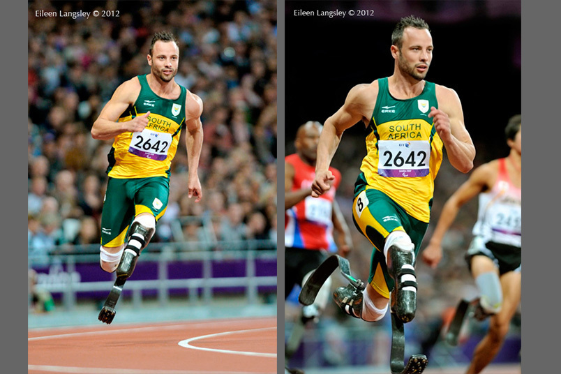 Oscar Pistorius (South Africa) in action during the 200 metre T44 race at the London 2012 Paralympic Games.
