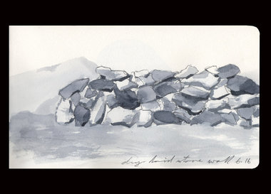 "This was a drawing of the dry-laid stone wall that I created that was the basis for ""East/ West Pyre for Mihai""