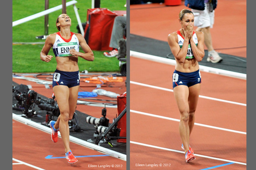 Jessica Ennis (Great Britain) wins the Heptathlon at the 2012 London Olympic Games.