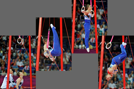 Sam Oldham (Great Britain) competing on Rings at the Gymnastics competition of the London 2012 Olympic Games.