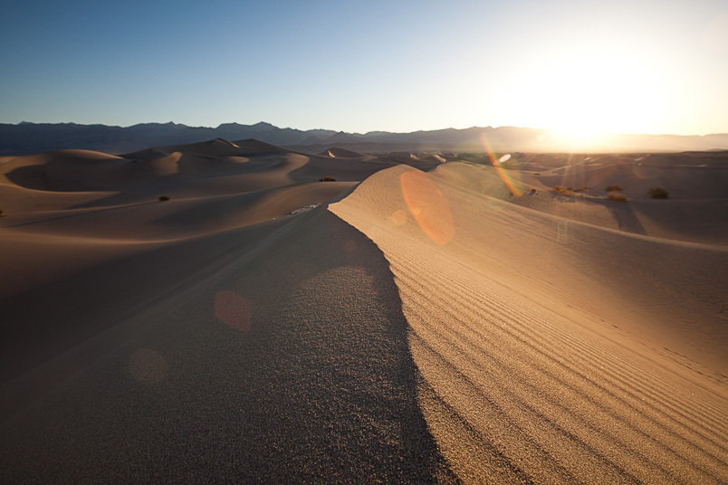 Mesquite Flat Sand Dunes at sunrise, Death Valley National Park, Calif.