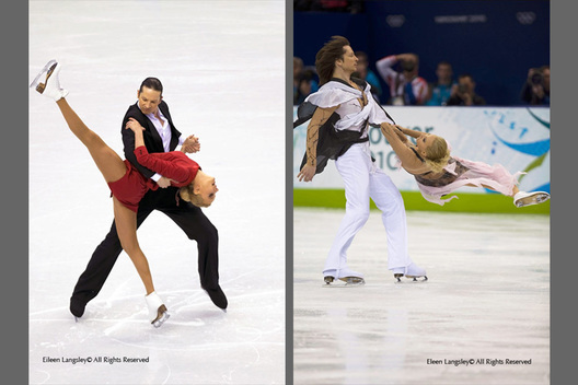 Oksana Domina and Maxim Shabalin (Russia) in action during their Tango Romantica Compulsory Dance at the 2010 Vancouver Winter Olympic Games.