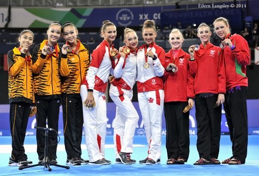 The team medallists for the Rhythmic Gymnastics competitions at the 2014 Glasgow Commonwealth Games (gold Canada, Silver Wales, bronze Malaysia).