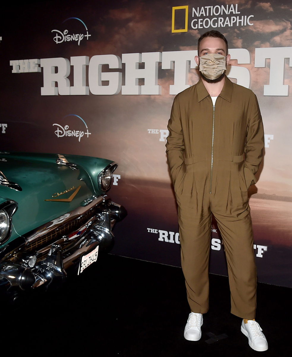 SANTA MONICA, CALIFORNIA - OCTOBER 05: Micah Stock attends the world premiere screening of National Geographics THE RIGHT STUFF at the Disney+ Drive-In Festival at the Barker Hangar in Santa Monica, CA on October 5, 2020. (Photo by Alberto E. Rodriguez/Getty Images for Disney+)