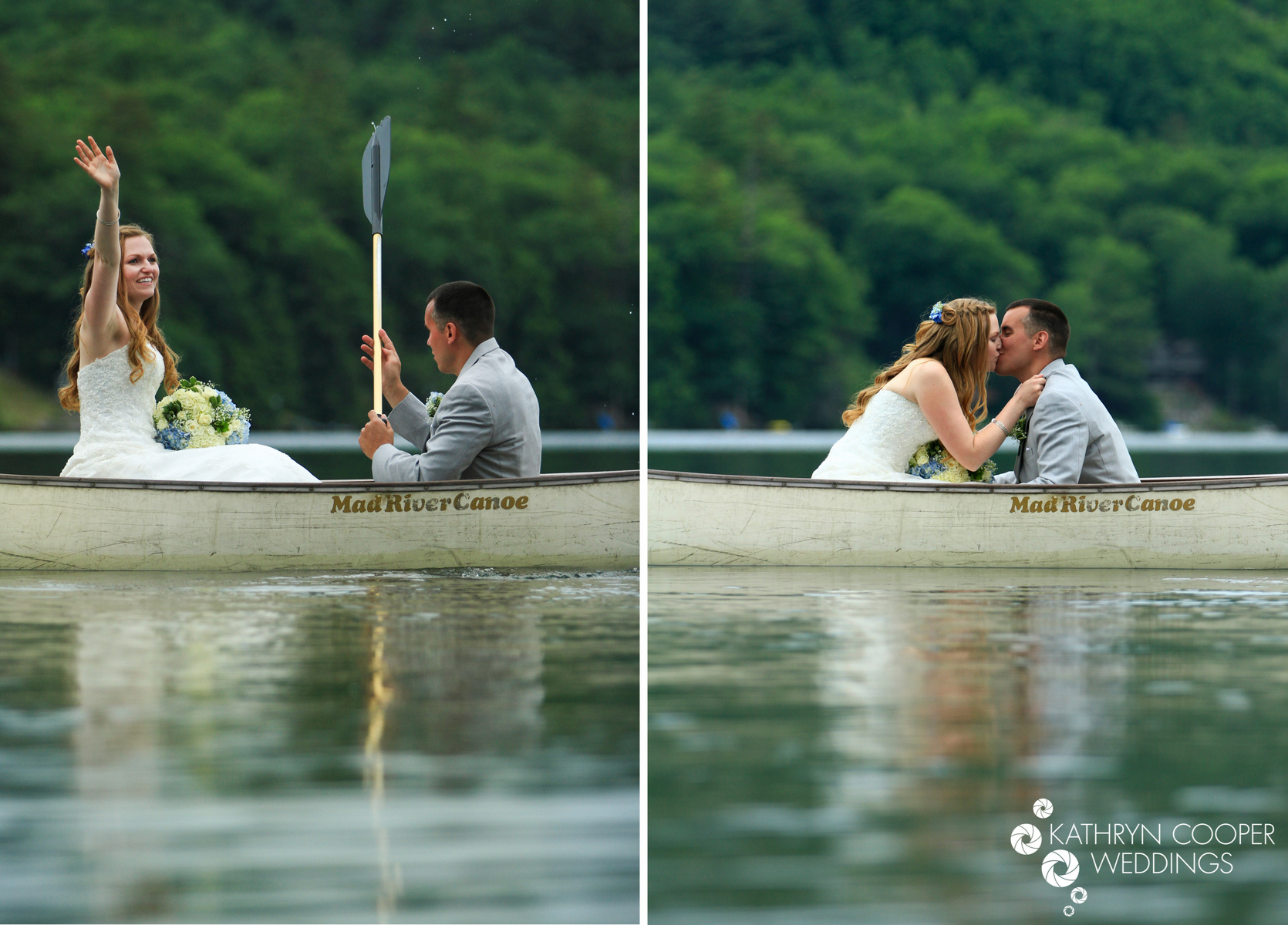 Canoeing wedding photo in Vermont with bride and groom on boat in lake