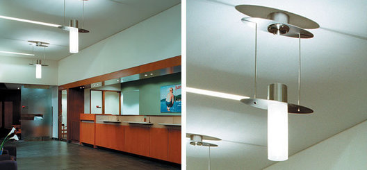 Direct / indirect custom stainless steel and acrylic fluorescent pendant lights