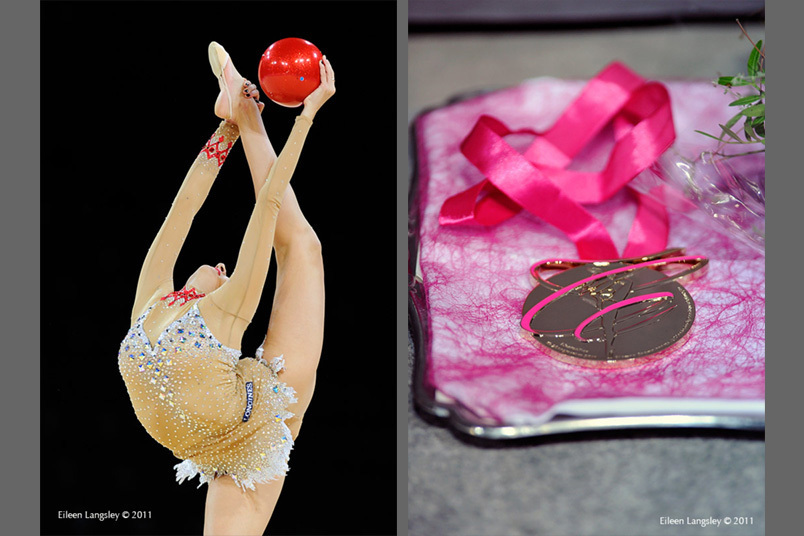 Evgenia Kanaeva (Russia) competing with Ball and one of her six gold medals at the World Rhythmic Gymnastics Championships in Montpellier.