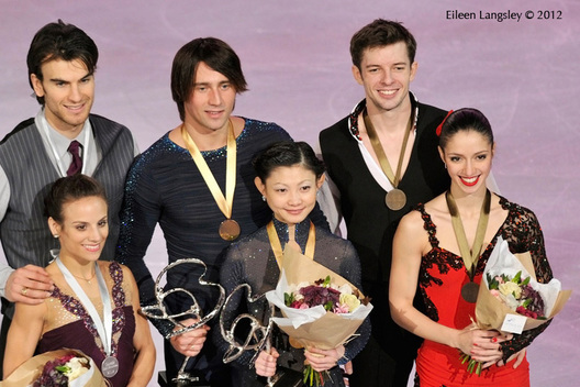 The medalllists of the pairs competition at the 2012 ISU Grand Prix Trophy Eric Bompard at the Palais Omnisports Bercy