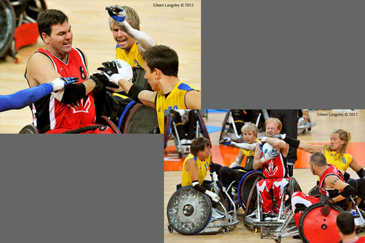Action from the Canada versus Sweden Wheelchair Rugby match at the London 2102 Paralympic Games.