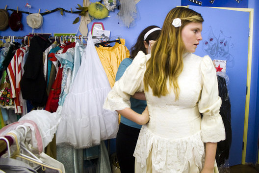 Alexa Zachary,15, gets fitted for one of her outfits by production assistant Alex Camastro, 18, for her role as Truly Scrumptious in MTA's upcoming production of Chitty Chitty Bang Bang.