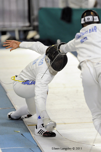 An action image of Enrico Garozzo (Italy) and Siebr Tigchelaar (Netherlands) competing in the Men's Epee event at the 2011 European Fencing Championships at the English Institute of Sport Sheffield July 18th.