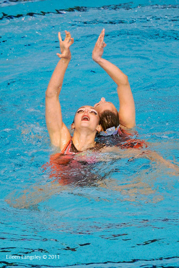 Hanna Besprozvannikh and Ekateryna Trushkevich (Belarus) compete in the Duet section of the European Synchro Champions Cup atPonds Forge International Sports Centre in Sheffield May 2011.