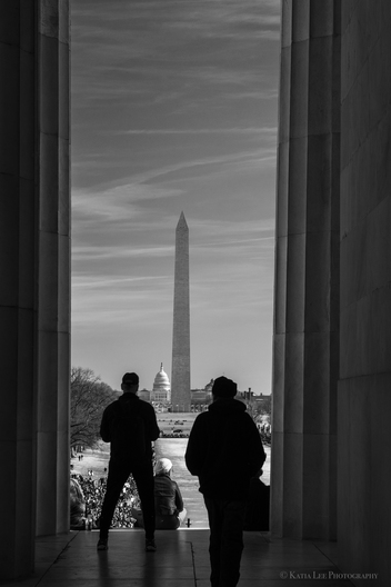 From the Lincoln Memorial, view of the Washington Monument during the Women's March in Washington D.C., January 20, 2018