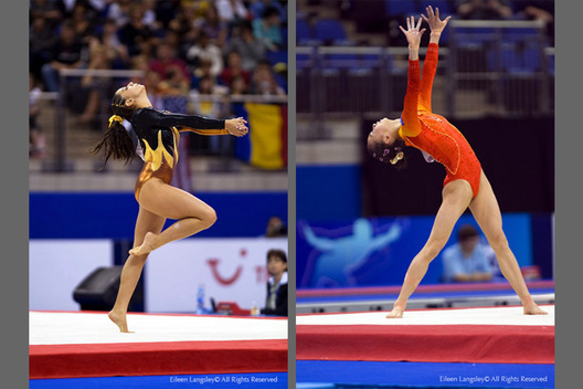 Jessica Gil Ortez (Columbia) right and Yang Yilin (China) right, strike artistic poses while competing on floor exercise at the 2009 London World Artistic Gymnastics Championships.