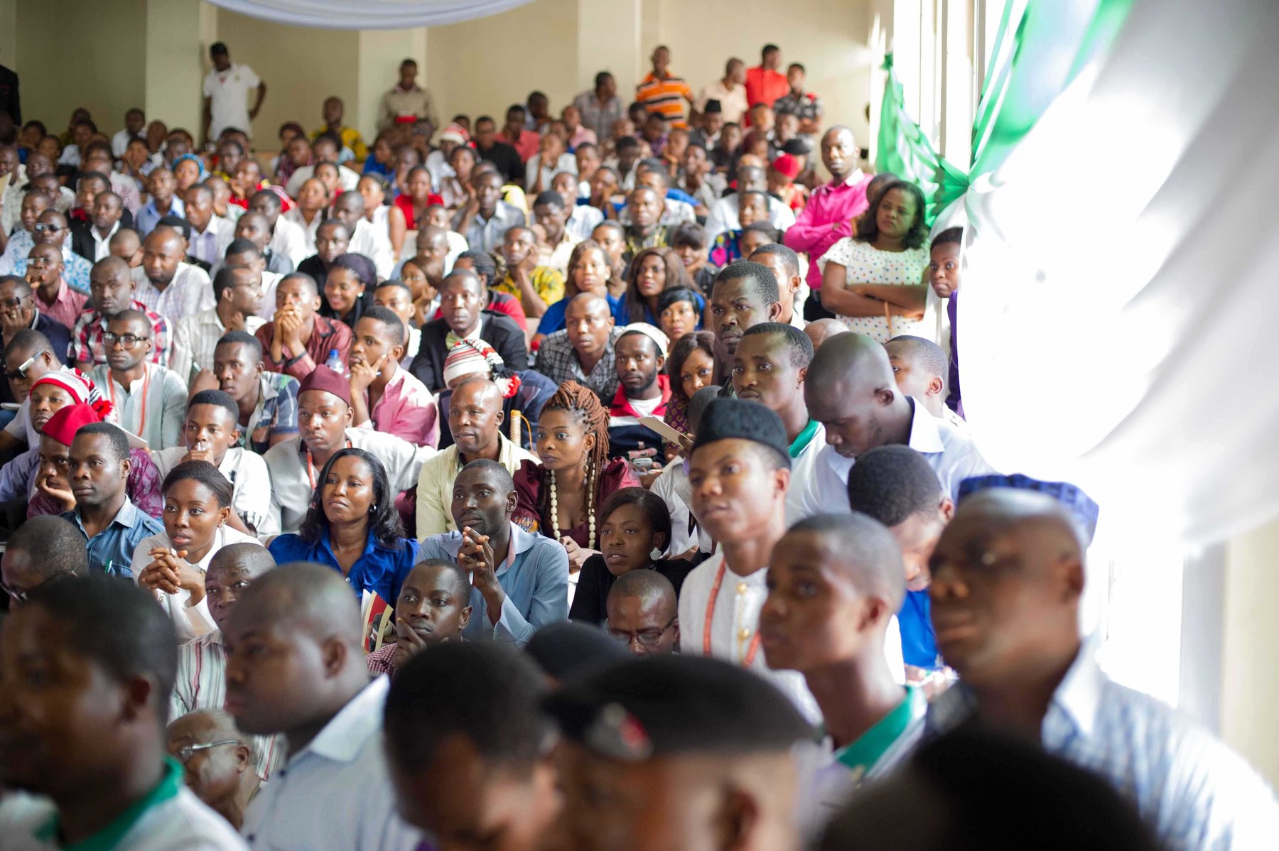 Students at the Nsukka University gather to hear Kalu speak.