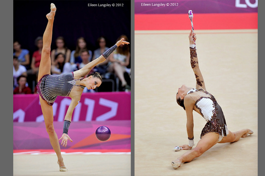 Delphine Ledoux (France) competing with ball and clubs during the Rhythmic Gymnastics competition at the 2012 London Olympic Games.