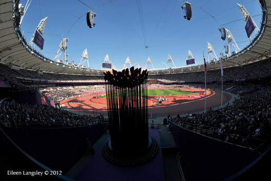 The Paralympic flame burns in the stadium at the London 2012 Paralympic Games.
