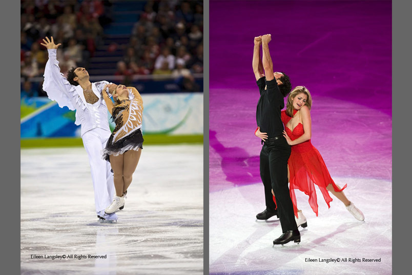 Tanith Belbin and Benjamin Agosto (USA) in action during their Free Dance (left) and perforing an artistic routine in the exhibition (right)  at the 2010 Vancouver Winter Olympic Games.