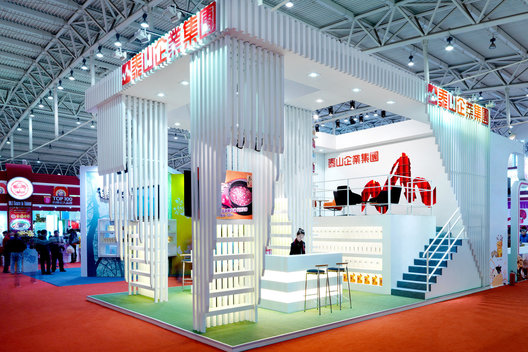Exhibition Booth Design designed by Singapore-based AND lab for Taiwanese Taisun for Food Fair in Beijing 由北京纳间建筑设计为泰山集团在北京台湾食品展时的展位设计