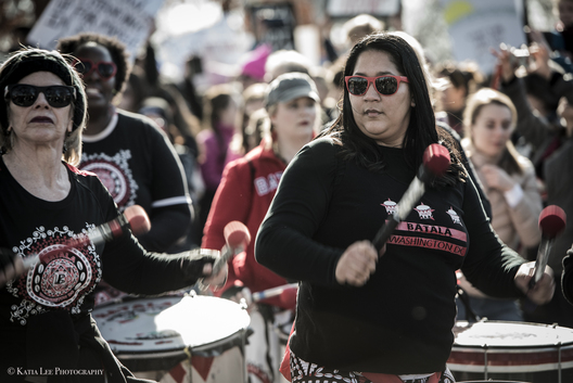 Batala drummers at the Women's March in Washington D.C., January 20, 2018
