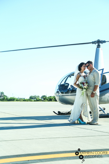 Destination wedding St. Thomas in helicopter kathryn cooper weddings