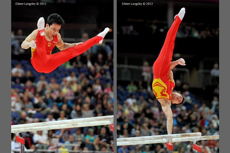 Feng Zhe and Chen Yibing (China) competing on Parallel Bars during the Artistic Gymnastics competition of the London 2012 Olympic Games.