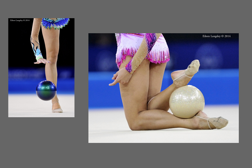 Generic images of gymnasts competing with Ball during the Rhythmic Gymnastics competition at he 2014 Glasgow Commonwealth Games.