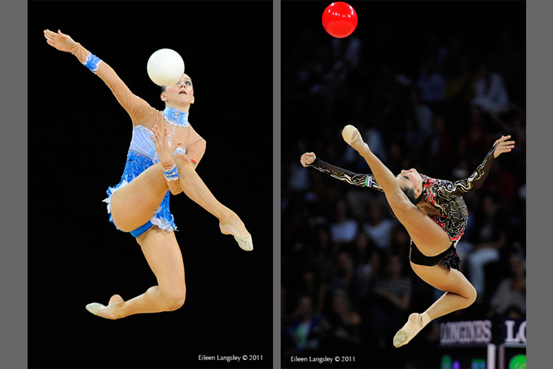 Lioubou Charkashina (Belarus) left and Ulyana Trofimova (Uzbekhistan) right competing with Ball at the World Rhythmic Gymnastics Championships in Montpellier.